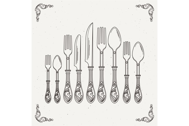 Sketched illustration of retro tableware. Vector pictures of example image 1