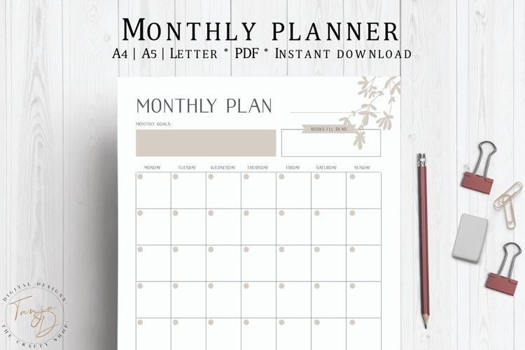 Monthly Planner, Monthly To Do List, Monthly Schedule