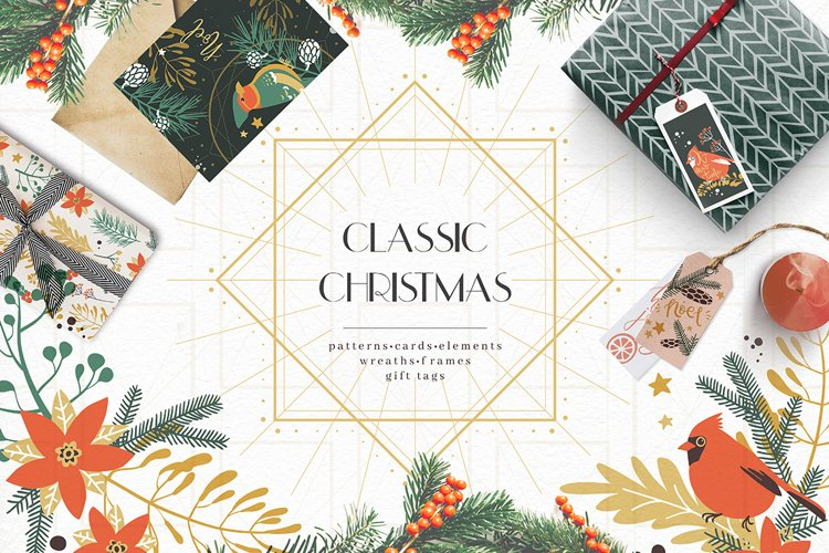 Classic Christmas. Winter clipart set. example image 1