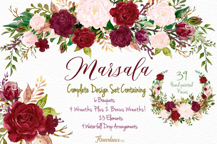 Watercolor Marsala and Blush Bundle for Weddings example image 1