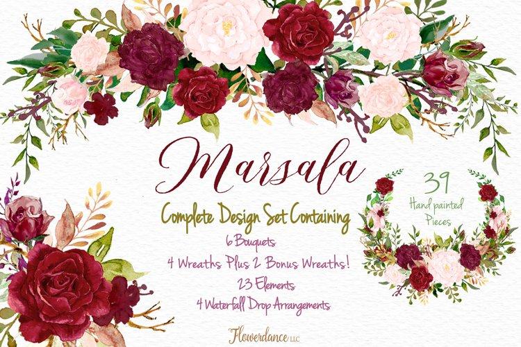 Watercolor Marsala and Blush Bundle for Weddings