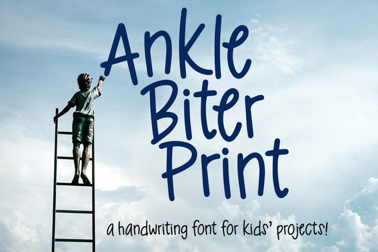 Ankle Biter Print - a childlike handwriting font! example image 1