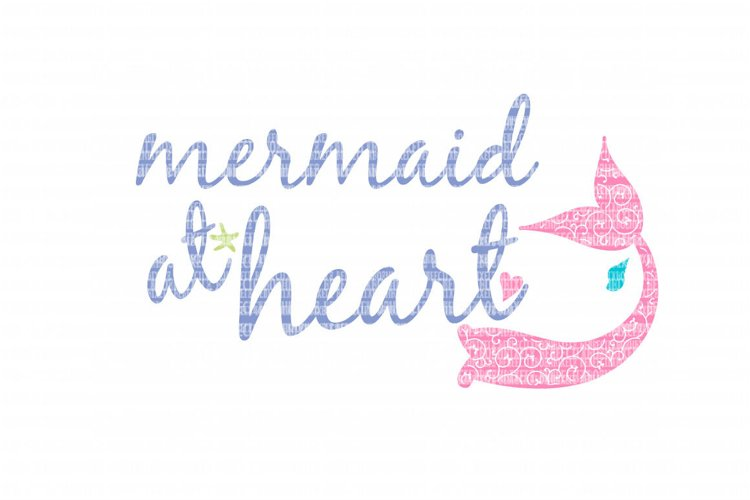 Mermaid At Heart SVG Files for Silhouette and Cricut Design Space Christmas Cut File Printable Transfer Decal DXF Commercial Use example image 1