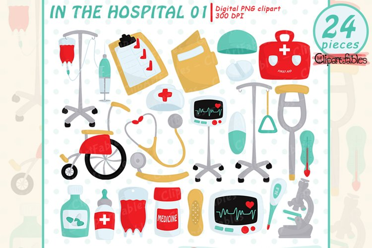 Cute HOSPITAL clipart, First aid clip art - INSTANT download example image 1