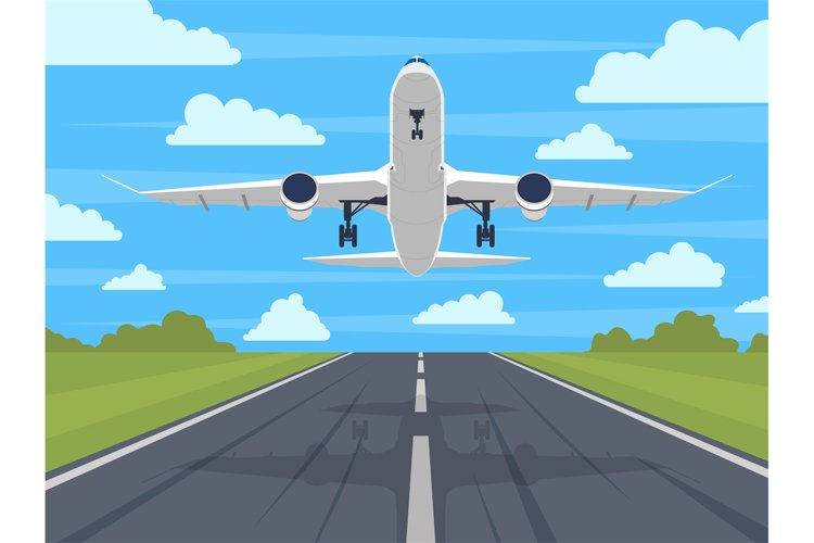 Airplane runway. Landing or taking off plane, passenger airp example image 1