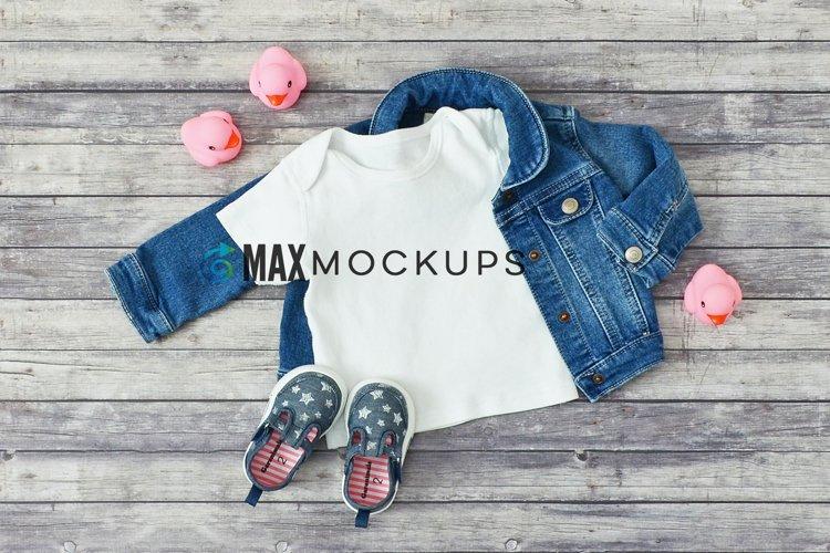Kids shirt Mockup, denim and pink ducks flatlay, image example image 1
