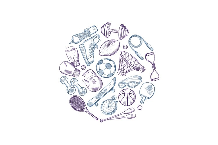 Vector hand drawn sports equipment elements circle concept i example image 1