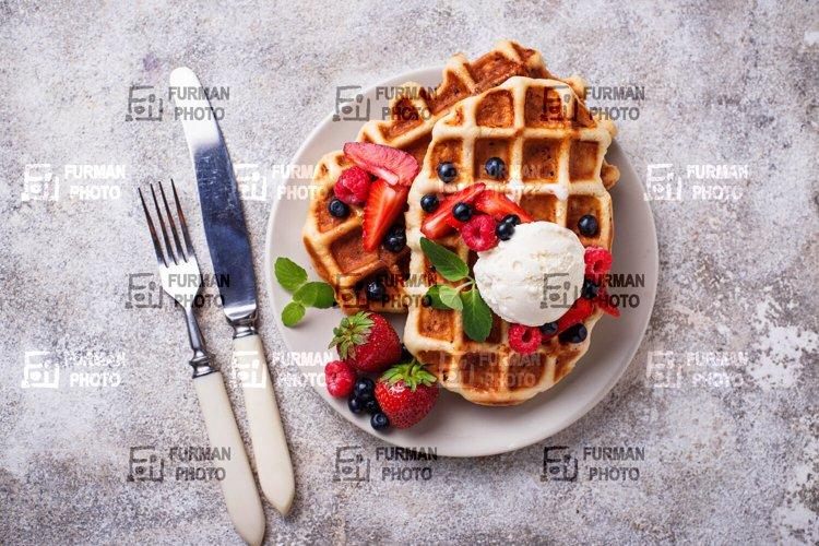 Belgium waffles with berries example image 1