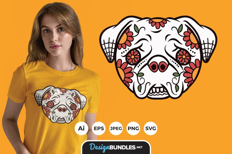 Dog Sugar Skull for T-Shirt Design example image 1