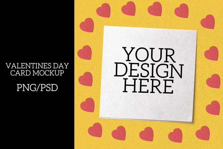 Valentines Day White Card Mock Up-PNG/PSD With Smart Object