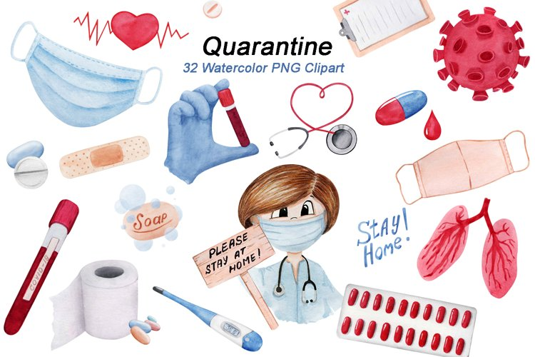 Quarantine Clipart Watercolor , Stay Home Clip Art PNG example image 1