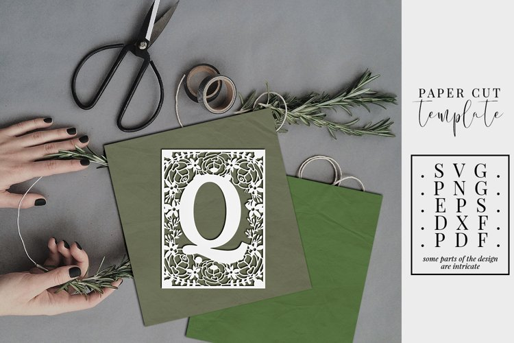 Floral frame letter Q, single initial paper cut, wedding SVG example image 1