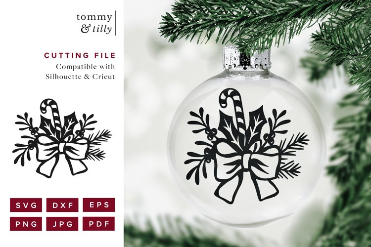 Christmas Floral Bow - SVG DXF PNG EPS JPG PDF Paper Cutting example 1