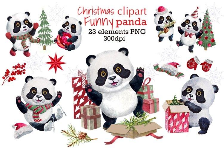 Christmas Clipart,Winter panda watercolor clip art example image 1