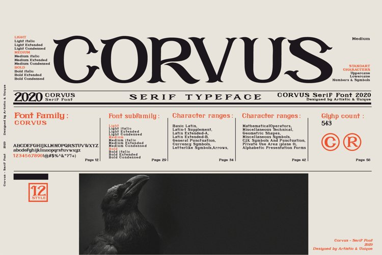 CORVUS Serif font Family example image 1
