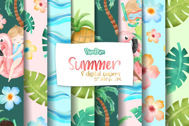 Summer Digital Papers example image 1