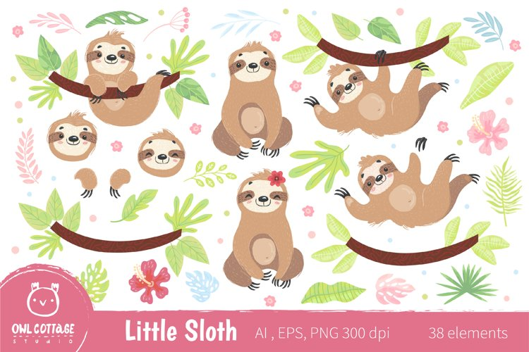 Cute Sloth Clipart Collection, Vector and Png, Easy SCALABLE