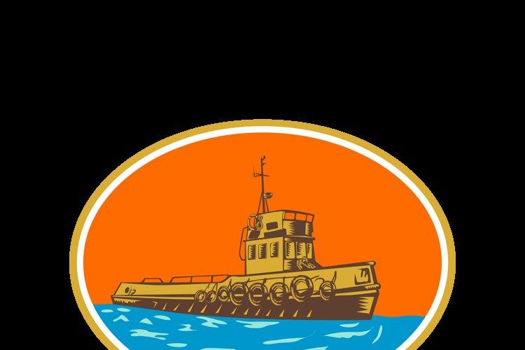 Tugboat Tug Towboat Woodcut example image 1