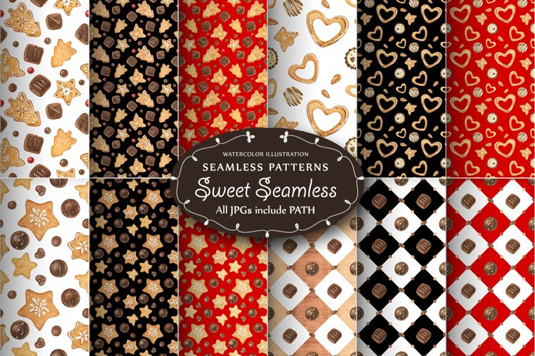 Sweet Seamless Patterns. Watercolor illustrations in Realism example image 1