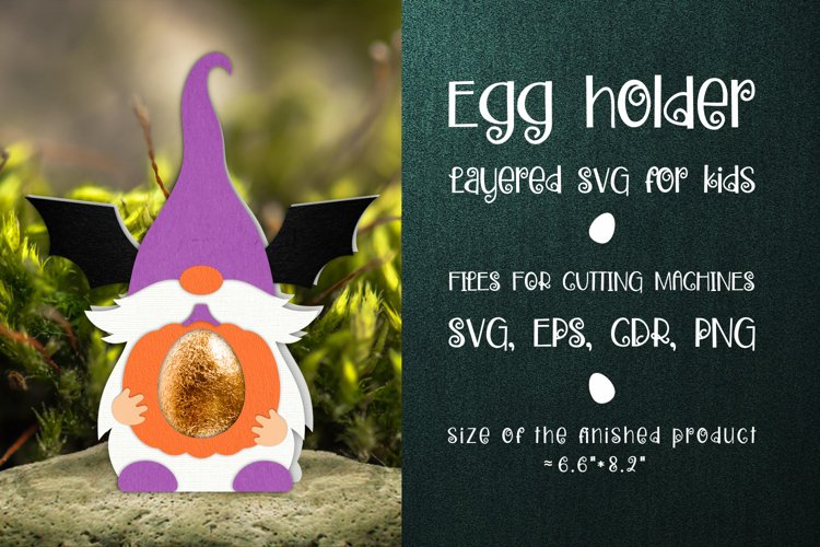 Halloween Gnome Egg Holder Template SVG example image 1