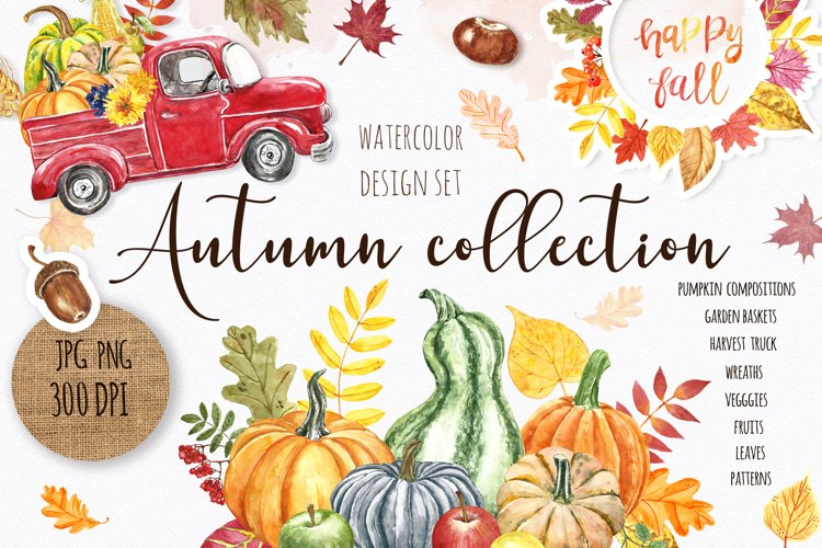 Watercolor Autumn Fall Pumpkin graphic Clipart Bundle example image 1