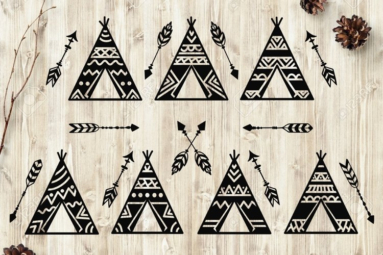 Teepees and Arrows Svg Bundle. Teepee SVG, Boho Arrows SVG. example image 1