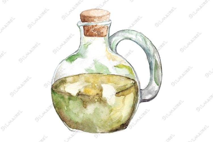 Watercolor virgin olive oil glass bottle isolated example image 1
