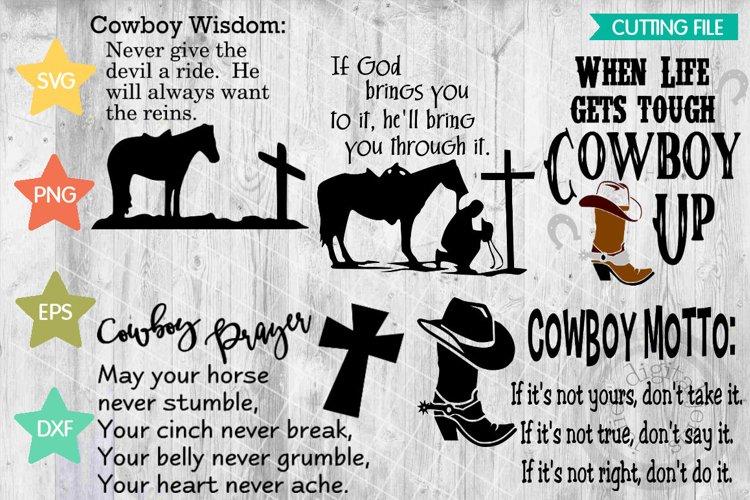 Cowboy Wisdom bundle of 5, Cowboy prayer svg