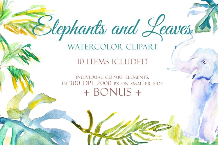 Elephants and Palm leaves watercolor clipart & BONUS pattern