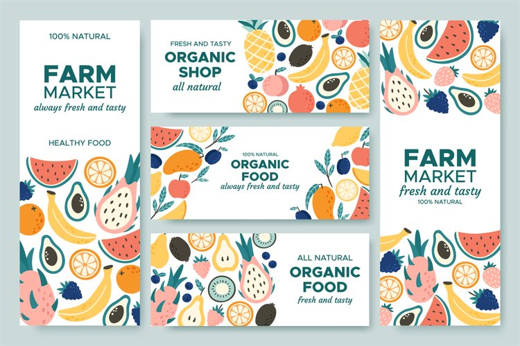 Fruit banner. Summer fruits, organic food menu and fresh pin example image 1