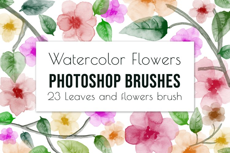23 hand painted floral watercolor brushes for Photoshop example image 1