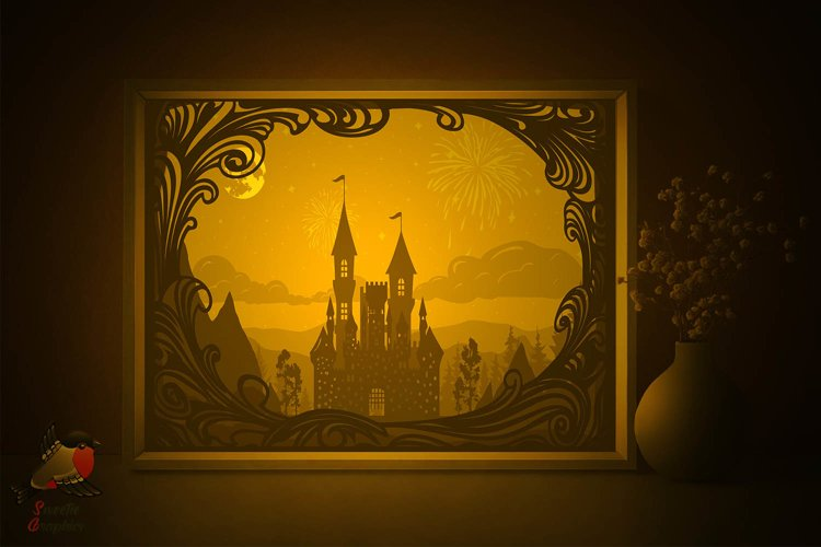 Fairytale Castle Tower Lightbox Shadow Box SVG Template example image 1