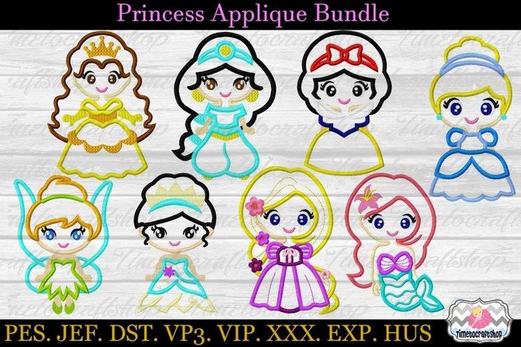 8 Little Cute Princess Applique Machine Bundle