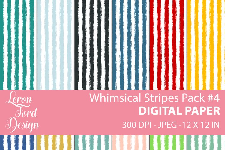 Whimsical Stripes Pack #4 Digital Paper example image 1