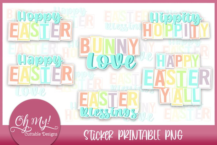 Easter Sticker Bundle Printable PNG Stickers 6 Designs