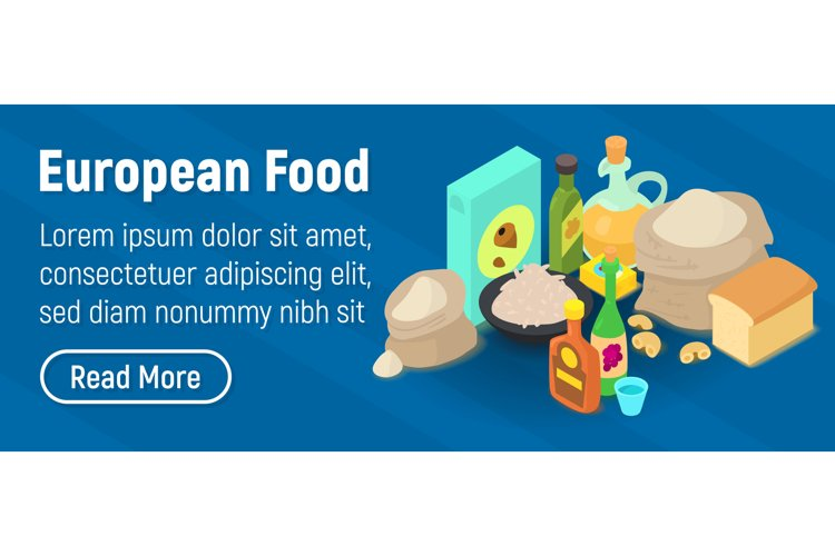European food concept banner, isometric style example image 1
