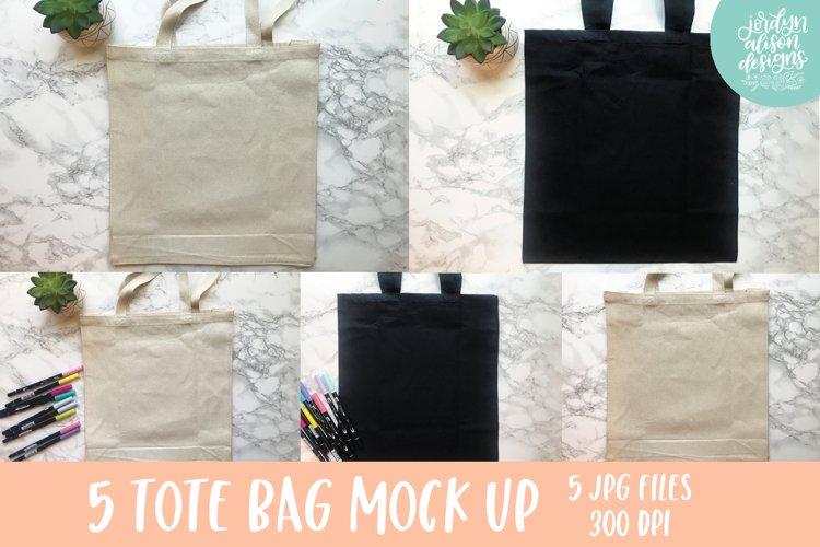 Tote Bag Bundle Mock Ups, Black and Tan Tote Bag Mockup