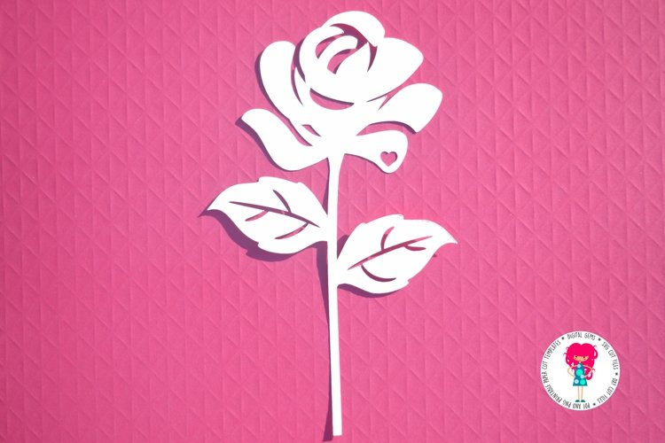Rose paper cut SVG / DXF / EPS files example image 1