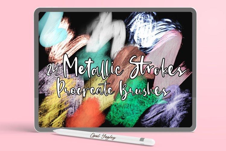 Metallic Strokes Procreate Brushes - Gold Glitter Brushes