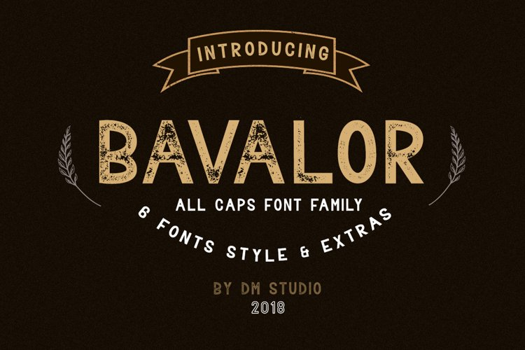 BAVALOR - ALL CAPS FONT FAMILY WITH EXTRAS example image 1