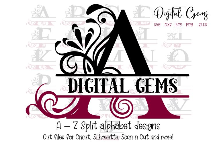 Split alphabet A - Z designs, SVG / PNG / EPS / DXF Files example image 1