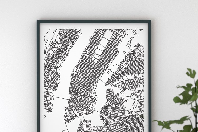 New York USA City Map --DIGITAL DOWNLOAD--- black and white 5 different sizes easy to print, high quality 300dpi---Maps Ahoy! worldwide maps example image 1