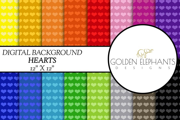 16 Heart Digital Paper, Seamless Scale Patterns example image 1
