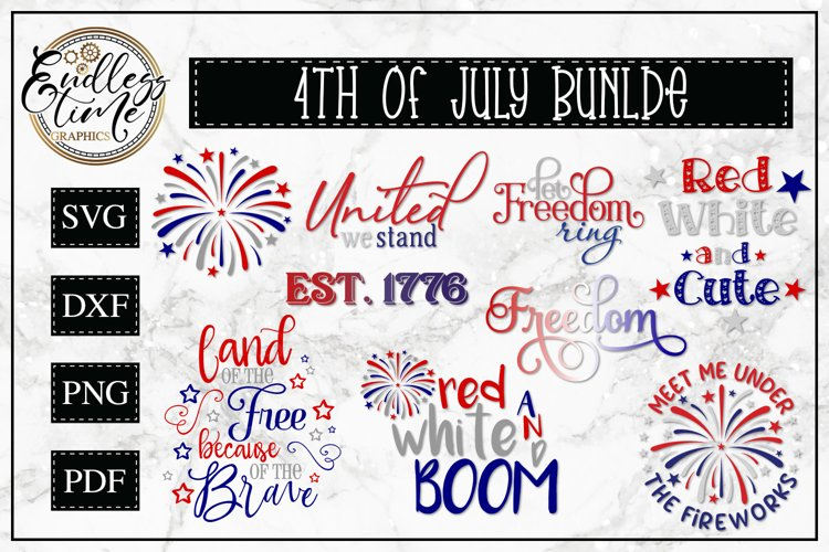 4th of July Bundle - 9 Patriotic SVG or Sublimation Designs