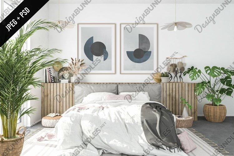 Boho bedroom mockup - frame & canvas mockup creator