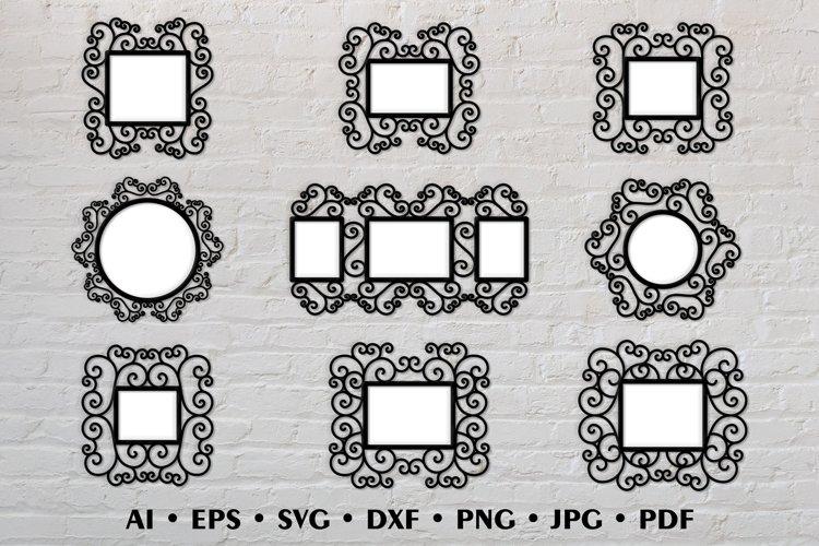 Frame SVG Bundle, Laser cut photo frame with a swirls design