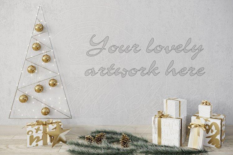 Christmas blank wall mockup template example image 1