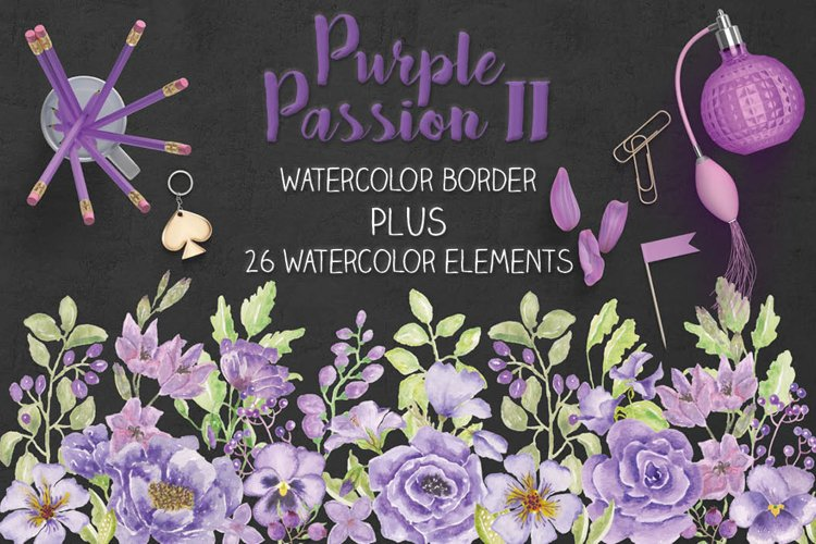 Purple Passion II: watercolor border plus individual elements