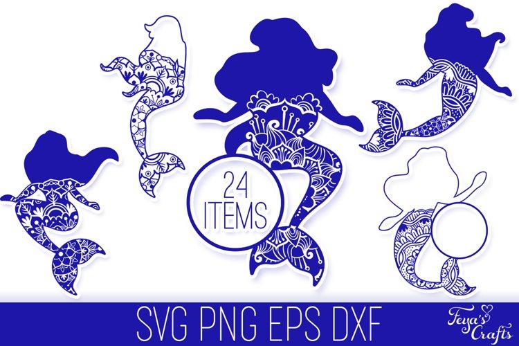 Mermaid Mandala SVG Files Pack   Mermaid Monogram SVG
