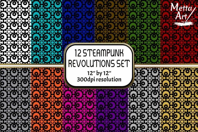 12 Seamless Pattern - 12 x 12 Steampunk Revolutions Set